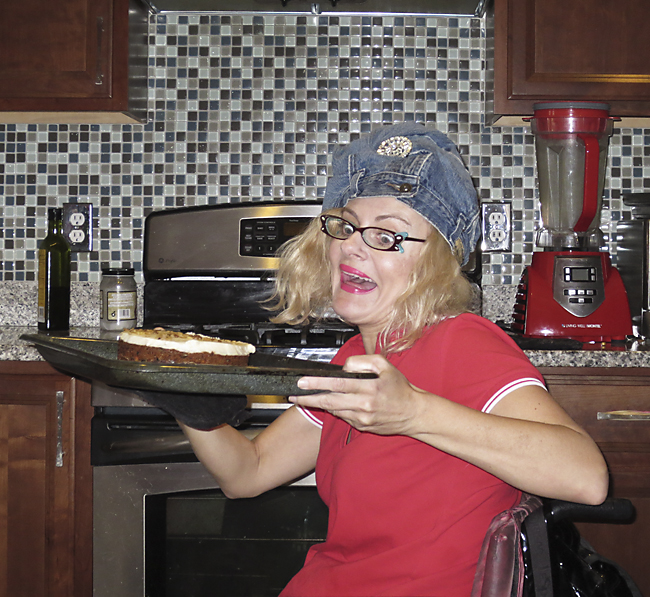 Baking with a jean turban.