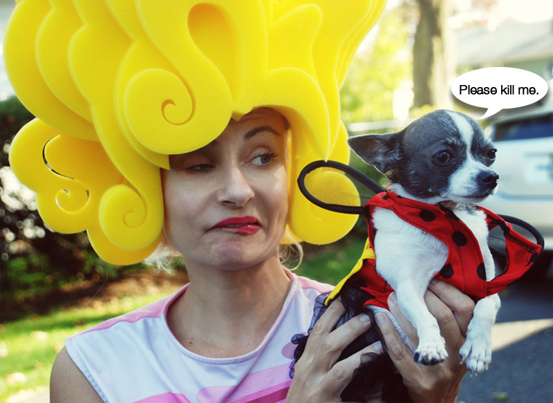 PrettyCripple in bouffant wig and Mirdle the Chihuahua in ladybug costume