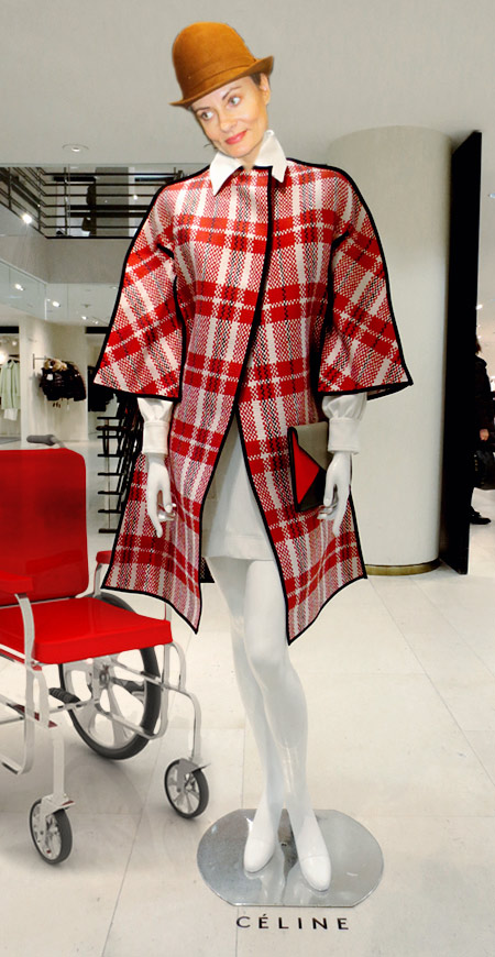 Red plaid Celine coat at Barneys NY