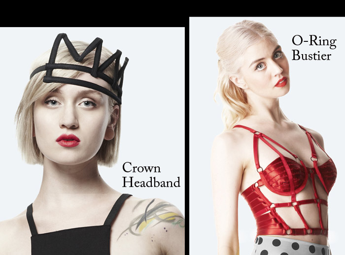 Chromat garments red bra and crown headband