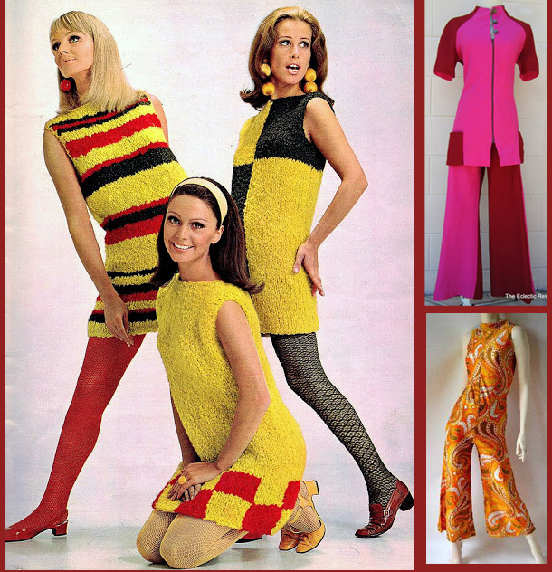 1960s mod skirts and paisley jumpsuit