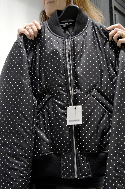 Black and White polka dot comme des garçonds flight jacket