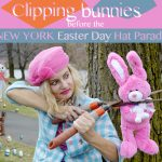 Clipping bunnies before the NY Easter Hat Parade