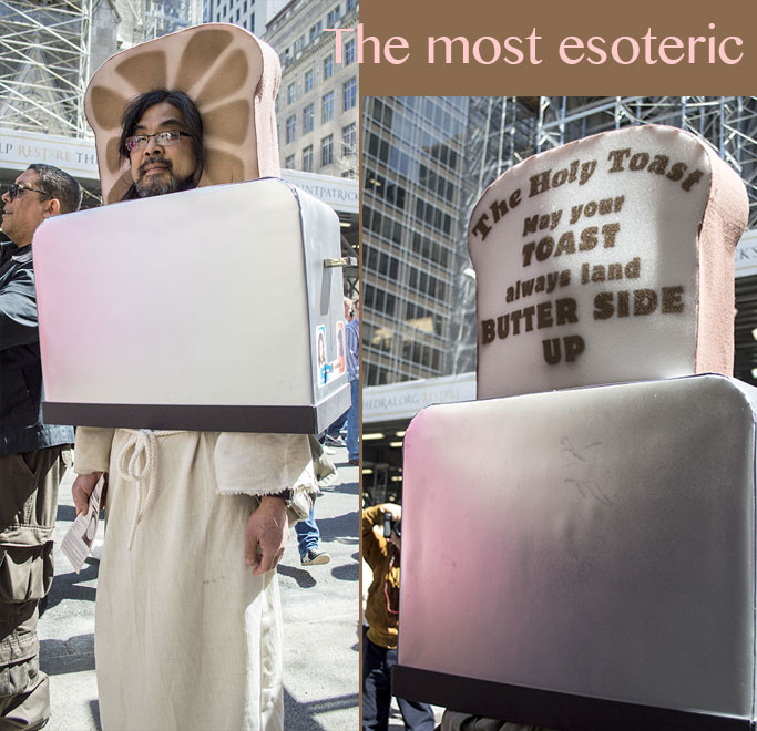 weirdest costume at the NY Easter Hat Parade 2014