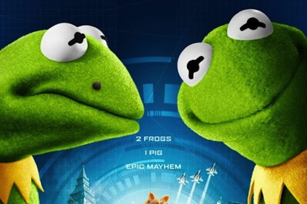 Kermit and Constantine from the Muppets Most Wanted Movie
