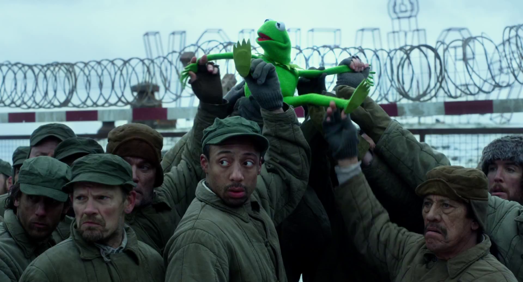 Kermit in a gulag from the movie the Muppets Most Wanted