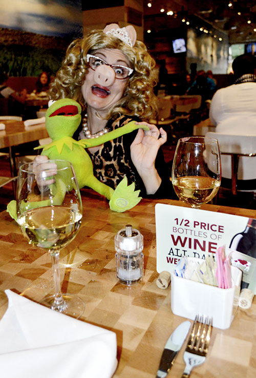 Me and Kermit enjoying our 1/2 off bottles of wine with the girls.