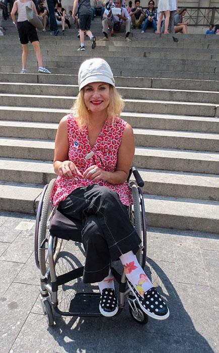 Wheelchair streetstyle at the Charles James Exhibit Met Museum