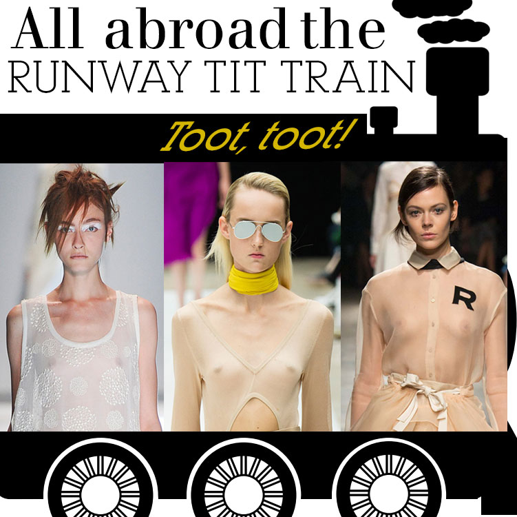 All aboard the Runway Tit Train in #PFW