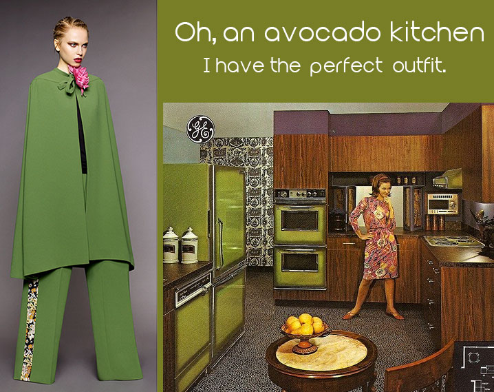 Avocado green kitchen 1960s with model